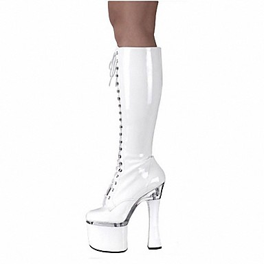 Women's Shoes PU Winter Fashion Boots Boots Spool Heel Round Toe Knee High Boots Zipper for Party & Evening White Black