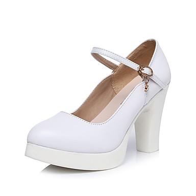 Női Cipő Szintetikus Mikrorost PU Tavasz / Ősz Formai cipő Magassarkúak Talp Erősített lábujj Strasszkő / Csat Fehér / Ruha