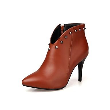 Damen Stiefel Gladiator Modische Stiefel Stiefeletten Kunstleder Herbst Winter Kleid Niete Reißverschluss StöckelabsatzSchwarz Rot