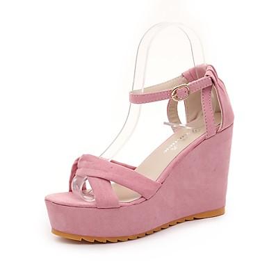 Damen Schuhe Wildleder Sommer Komfort Sandalen Walking Keilabsatz Offene Spitze für Normal Schwarz Grau Grün Rosa