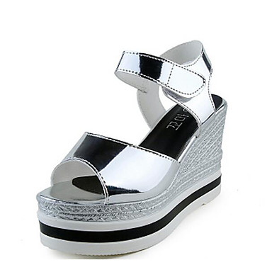 Damen Schuhe Lackleder Frühling Sommer Komfort Sandalen für Normal Schwarz Silber Champagner
