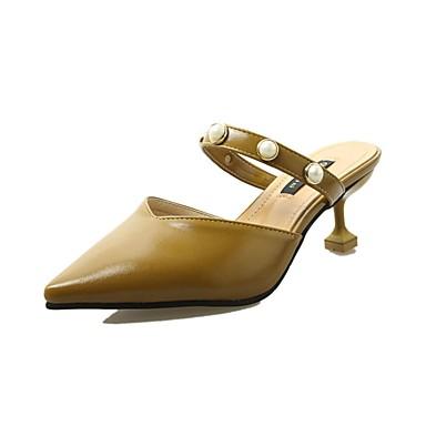 Női Cipő Szövet / PU Nyár Kényelmes Szandálok Tűsarok Erősített lábujj Gyöngydíszítés mert Fekete / Bézs / Sárga