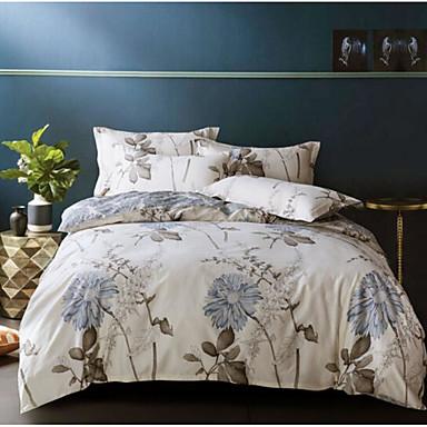 Floral / Botanical 4 Piece Cotton Cotton 4pcs (1 Duvet Cover, 1 Flat Sheet, 2 Shams)