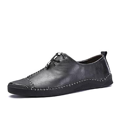 Férfi cipő Nappa Leather Tél Ősz Kényelmes Tornacipők Gyalogló Tépőzár mert Sport Hétköznapi Fekete Szürke Piros