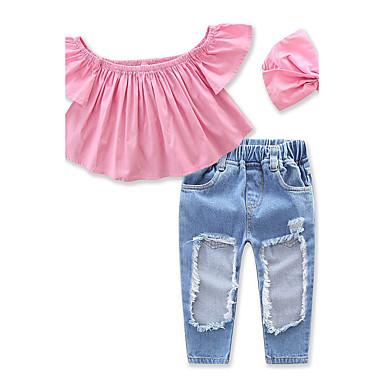 Toddler Girls' Dresswear Solid Colored Short Sleeve Short Short Cotton Clothing Set