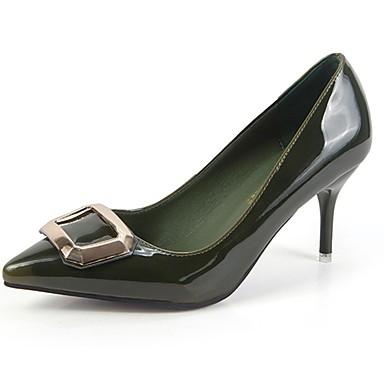 Női Cipő PU Tavasz Ősz Könnyű talpak Magassarkúak Cicasarok Erősített lábujj mert Ruha Fekete Katonai zöld Kék Burgundi vörös