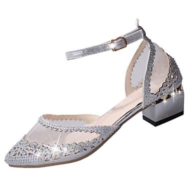 Női Cipő PU Tavasz Könnyű talpak Szandálok blokk Heel Erősített lábujj Csat Arany / Ezüst