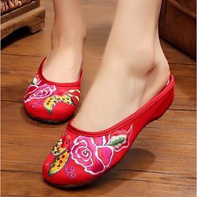 Damen Schuhe Stoff Sommer Komfort Slippers & Flip-Flops Für Normal Beige Rot Blau