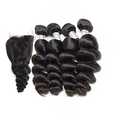 4 Bundles With Closure Brazilian Hair Loose Wave Virgin Human Hair Natural Color Hair Weaves 8-26 inch Human Hair Weaves Human Hair Extensions