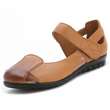 Damen Schuhe Leder Sommer Komfort Flache Schuhe Für Normal Schwarz Beige Rot Khaki