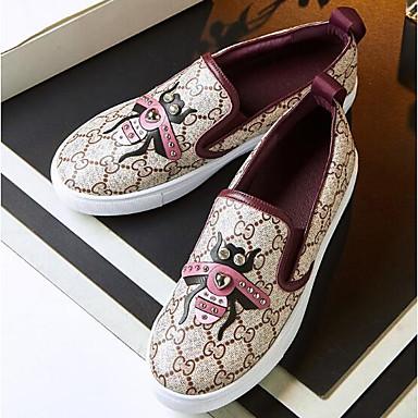 Damen Flache Schuhe Komfort Stoff PU Frühling Normal Burgund Flach