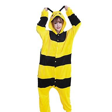 Adults' Kigurumi Pajamas Bee Onesie Pajamas Costume Flannel Fabric Cosplay For Animal Sleepwear Cartoon Halloween Festival / Holiday / Stripe / Christmas