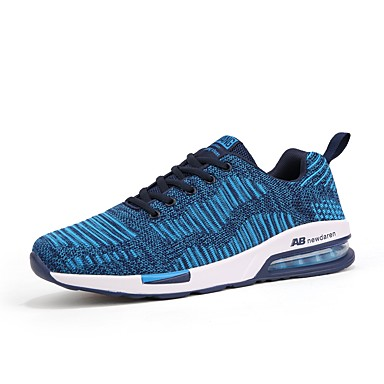 للرجال أحذية شبكة قابلة للتنفس تول PU دنة نسيج شتاء خريف مريح نعال خفيفة أحذية رياضية الركض دانتيل إلى رياضي الأماكن المفتوحة رمادي أزرق