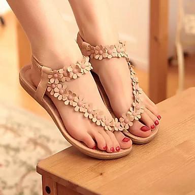 Tacón Sandalias y Otoño Fiesta Plano Rosa Noche Apliques Verano Puntera Innovador 06172967 Banda Mujer Zapatos Blanco Confort PU Yq00ZU