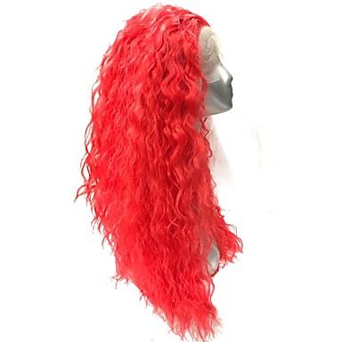 Szintetikus csipke front parókák Göndör Afro-amerikai paróka Piros Női Csipke eleje Természetes paróka Jelmez paróka Hosszú Szintetikus