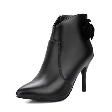 Damen Schuhe Kunstleder Winter Modische Stiefel Stiefel Stöckelabsatz Spitze Zehe Applikationen Reißverschluss für Party & Festivität