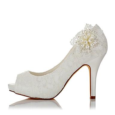 Chaussures Sandales Mariage Dentelle Aiguille Ivoire 06096486 Femme Talon Eté Basique Imitation Escarpin Perle ouvert Bout Satin Automne dTwq0H
