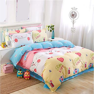 Karton Polyester / Baumwolle Polyester / Baumwolle 4-teilig (1 Bettbezug, 1 Bettlaken, 2 Kissenbezüge)