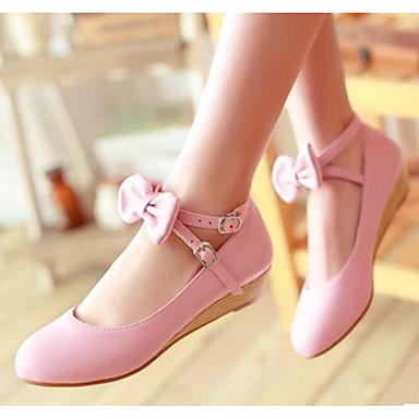 Damen Schuhe PU Frühling Herbst Komfort Flache Schuhe Für Normal Weiß Beige Rosa