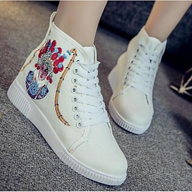Damen Schuhe Stoff Frühling Komfort Sneakers für Normal Weiß Marinenblau Rot