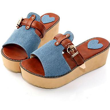 Damen Schuhe Denim Jeans Frühling Sommer Komfort Sandalen Für Normal Grün Blau
