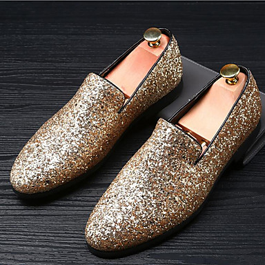 Men's Moccasin Glitter Summer / Fall British Loafers & Slip-Ons Gold / Black / Silver / Sparkling Glitter / Wedding / Party & Evening