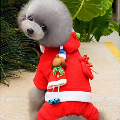 Kutya Jumpsuitek Kutyaruházat Karácsony Piros Plüss anyag Jelmez Háziállatok számára Férfi Női Party Karácsony