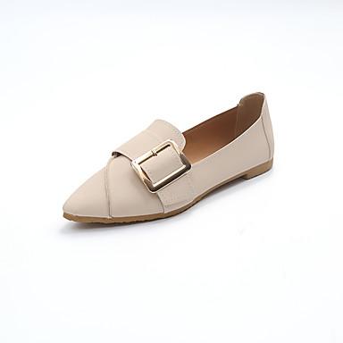 Női Cipő PU Tavasz / Nyár Kényelmes / Könnyű talpak Papucsok & Balerinacipők Lapos Erősített lábujj Fekete / Bézs / Rózsaszín