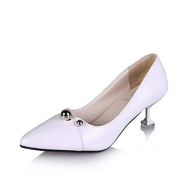 Women's Shoes PU(Polyurethane) Summer Comfort Heels Walking Shoes Stiletto Heel Pointed Toe White / Black / Silver
