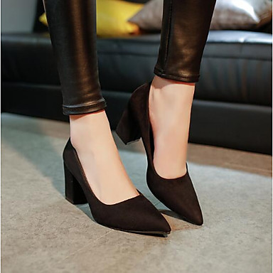 Women's Shoes Leather PU Winter Spring Comfort Basic Pump Heels for Casual Black Red Pink