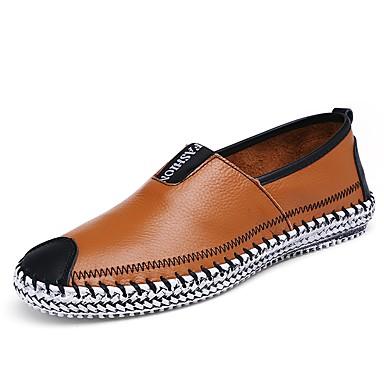Férfi cipő Bőr Nyár / Ősz Kényelmes Papucsok & Balerinacipők Gyalogló Fekete / Sötétkék / Barna