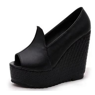 Damen Schuhe PU Frühling Komfort Sandalen für Normal Schwarz Beige