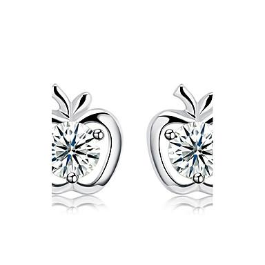 Női Kocka cirkónia Beszúrós fülbevalók - Ezüst Apple Alap Ezüst Kompatibilitás Esküvő / Parti / Ajándék