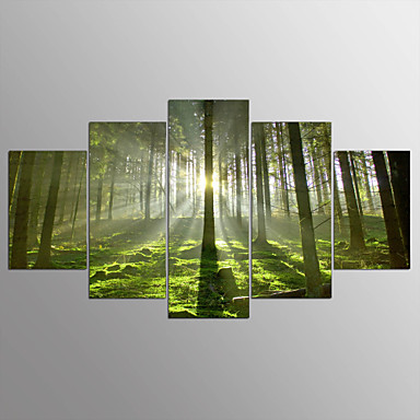 Stretched Canvas Print Abstract, Five Panels Canvas Horizontal Print Wall Decor Home Decoration