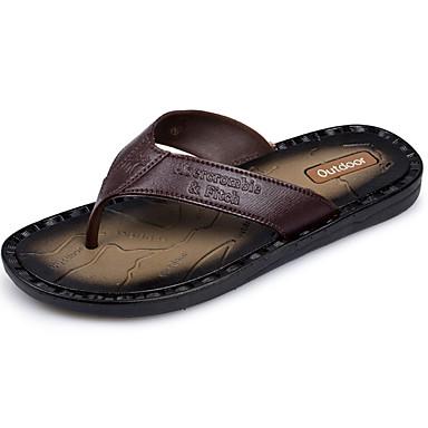 Férfi cipő PU Nyár Könnyű talpak Papucs és papuc Vízi cipő Világosbarna / Sötétbarna
