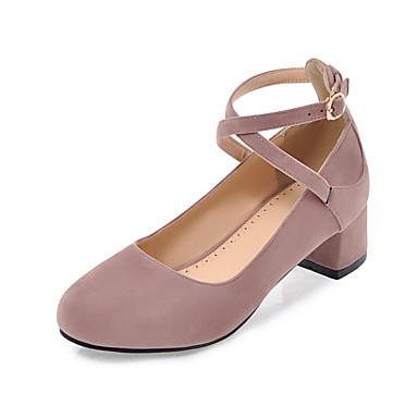 Damen Schuhe Kunstleder Sommer Herbst Leuchtende Sohlen Komfort High Heels Blockabsatz Runde Zehe Schnalle für Normal Kleid Schwarz Beige