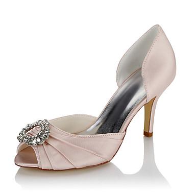 Women's Shoes Satin Summer / Fall Comfort Sandals Stiletto Heel Open Toe Rhinestone Screen Color / Wedding / Party & Evening