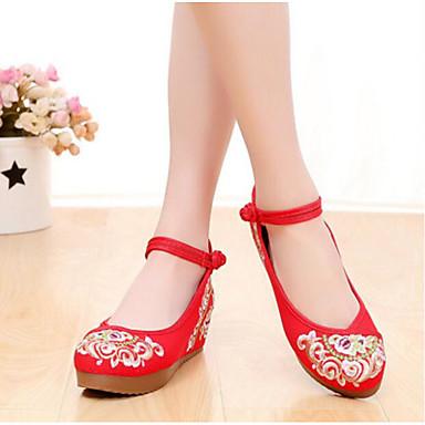 Damen Schuhe Stoff Sommer Komfort Flache Schuhe Für Normal Schwarz Rot