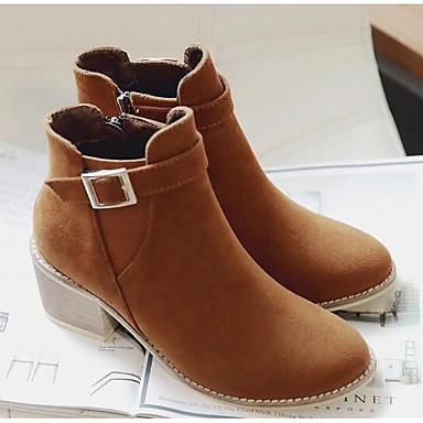 Damen Schuhe PU Leder Winter Springerstiefel Komfort Stiefel für Normal Schwarz Braun