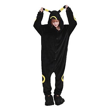 Kigurumi Pyjama Karton Kostüm Einteiler Pyjama Schwarz Flanell Cosplay Für Erwachsene Tiernachtwäsche Weihnachten Fest / Feiertage