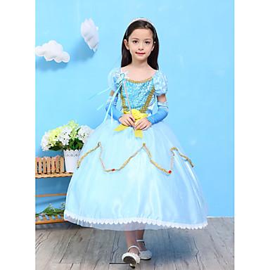 لفتاة فستان تطريز سادة ورد قطن رايون بوليستر كل الفصول كم قصير