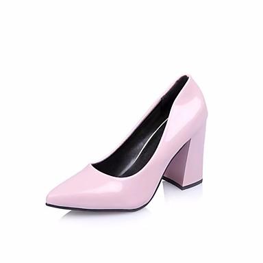 Damen Schuhe PU Sommer Komfort High Heels Walking Block Ferse Spitze Zehe für Normal Weiß Schwarz Rot Rosa