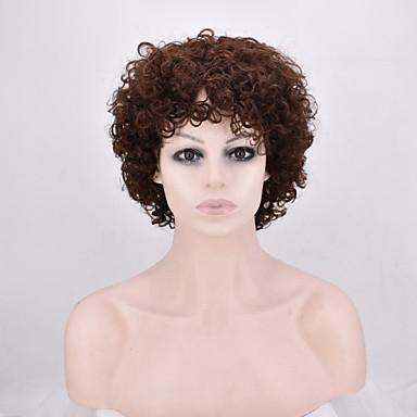 Synthetische Perücken Locken Braun Damen Kappenlos Natürliche Perücke Medium Synthetische Haare