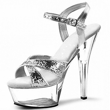 Women's Sparkling Glitter Summer Formal Shoes Sandals Stiletto Heel Peep Toe Crystal / Sparkling Glitter Gold / Black / Silver / Party & Evening / Party & Evening