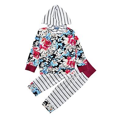 طفل فتيات مجموعة ملابس طباعة قطن قطن شتاء ربيع/الصيف كم طويل زهري أزرق