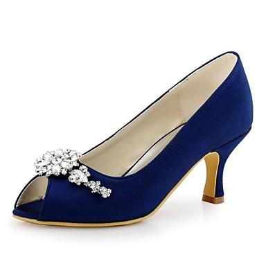 Női Cipő Streccs szatén Tavasz / Nyár Magasított talpú Esküvői cipők Tűsarok Köröm Kristály mert Esküvő / Party és Estélyi Zöld / Kék /