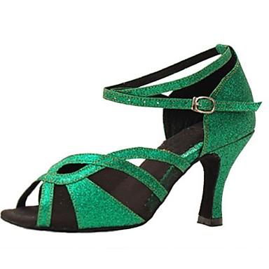 Női Latin Csillogó flitter Szandál Teljesítmény Glitter Tűsarok Zöld 3