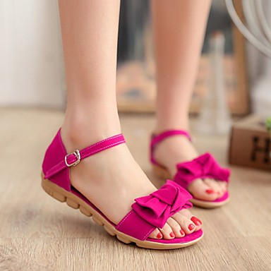 Damen Schuhe PU Sommer Komfort Flache Schuhe Flacher Absatz Offene Spitze Für Normal Orange Fuchsia Blau