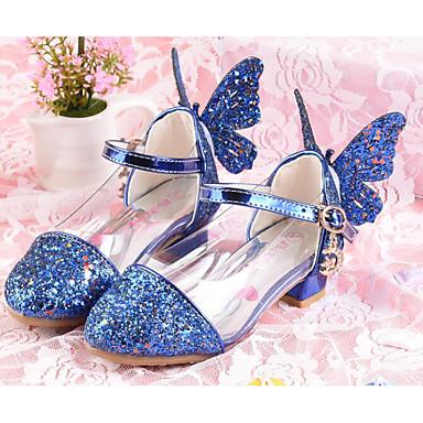 Mädchen Flache Schuhe Komfort Paillette PU Frühling Normal Silber Blau Rosa Flach