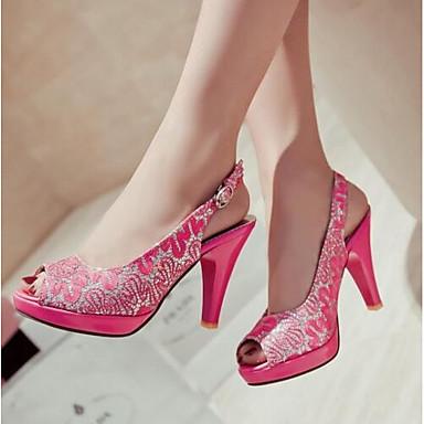 Damen Schuhe Paillette Sommer Komfort High Heels Für Normal Schwarz Rot